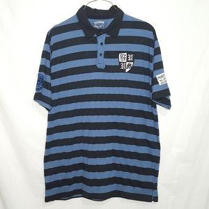 Vintage KOMAN Striped Polo Shirt XXL 2XL Patched
